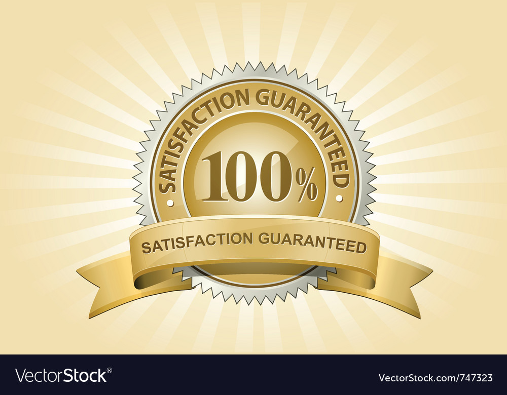 Yellow satisfaction guaranteed sign vector image
