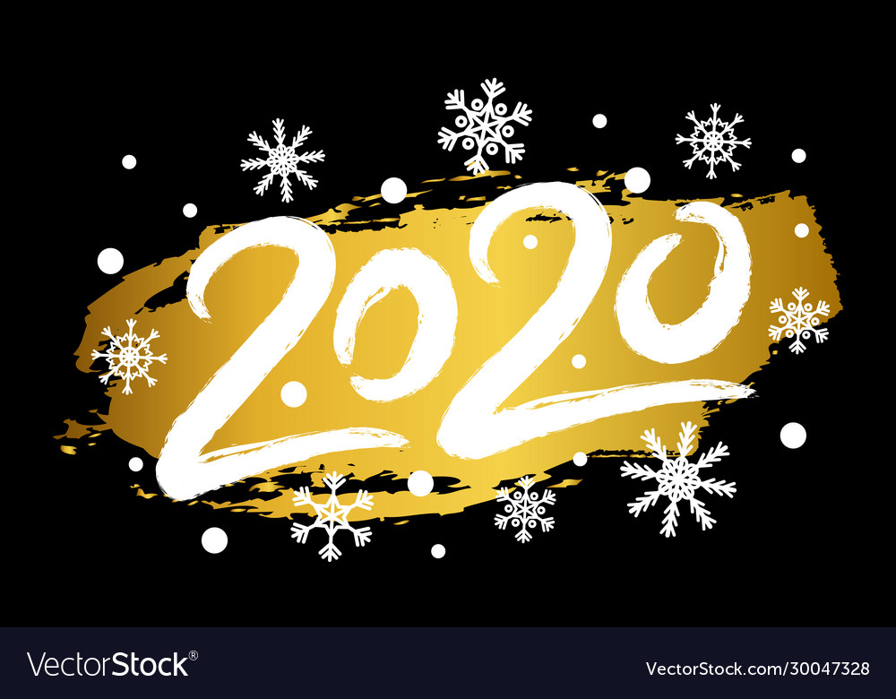 2020 happy new year with gold glitter effect
