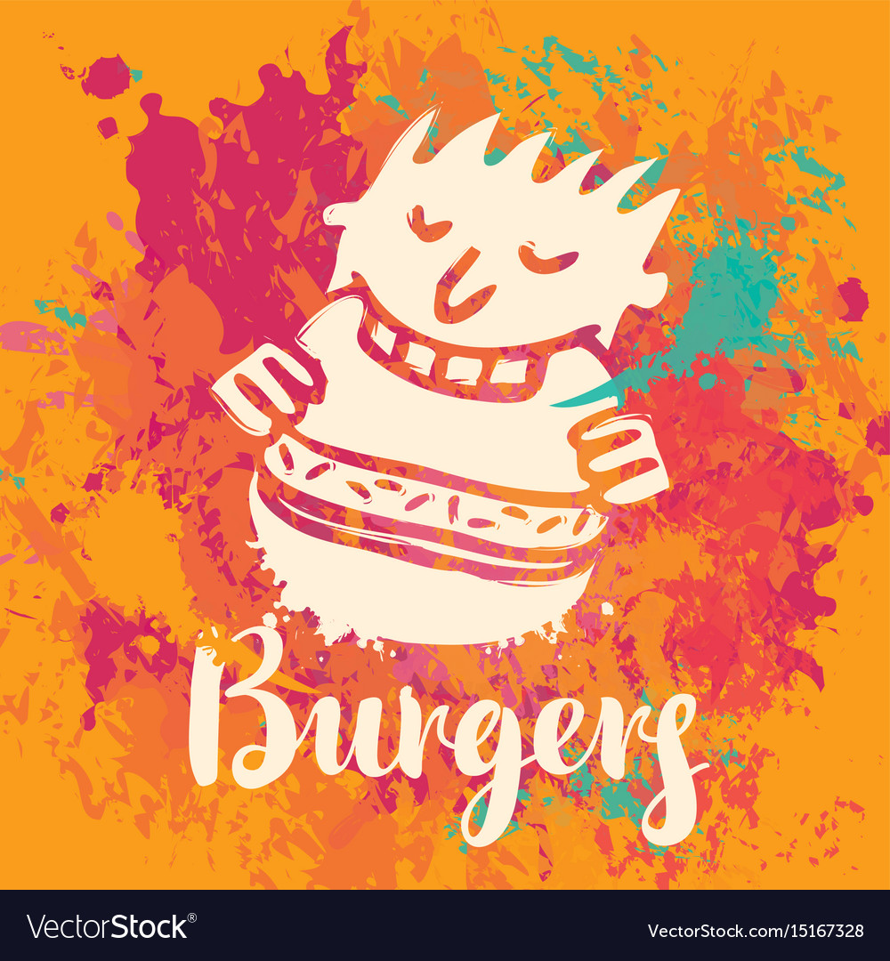 Banner for burger on the abstract background