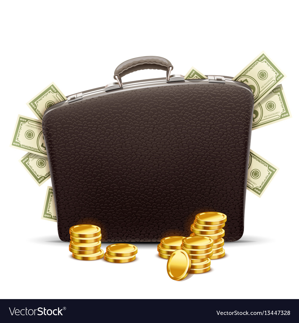 Business briefcase full of money vector image