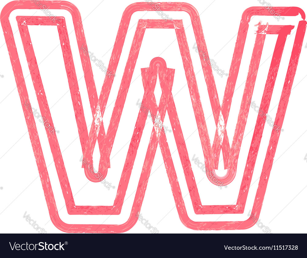 Capital letter W drawing with Red Marker