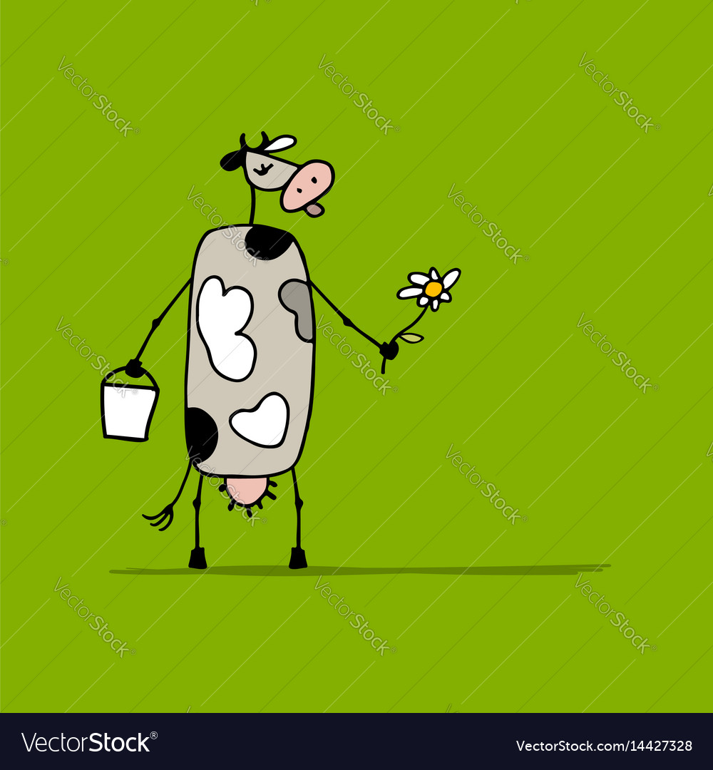 Cute cow with milk and flower sketch