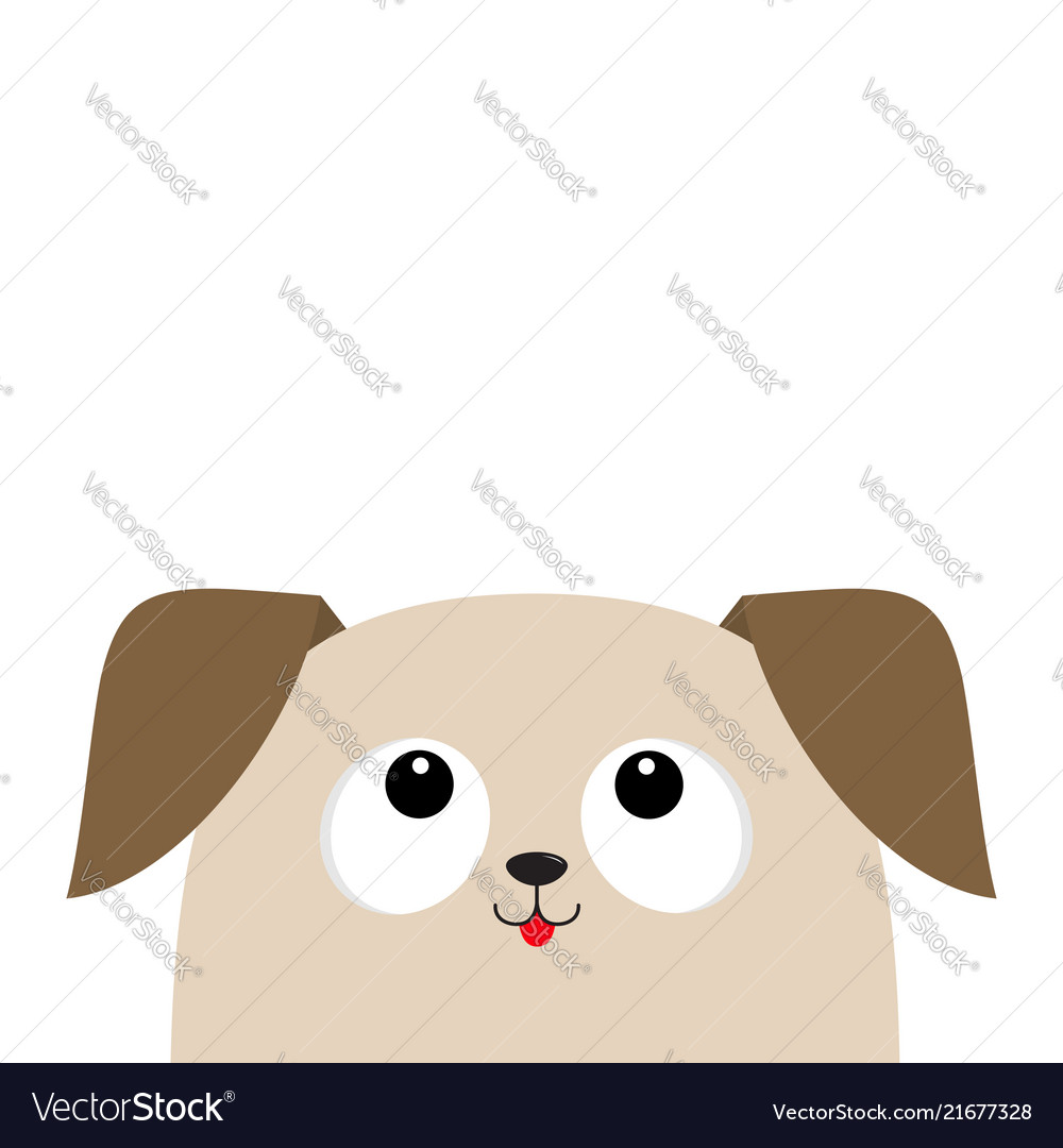 Dog puppy head looking up cute cartoon character
