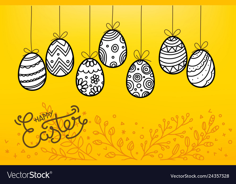 Easter eggs in doodle style holiday banner easter