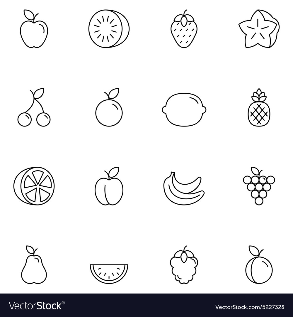 Fruits Thin Line Icons vector image