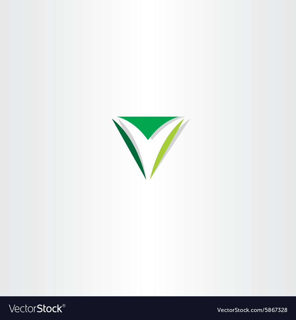 green letter v logo triangle sign royalty free vector image