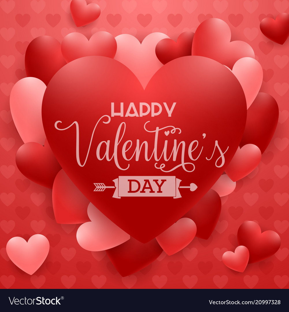 Happy valentines day background with red heart