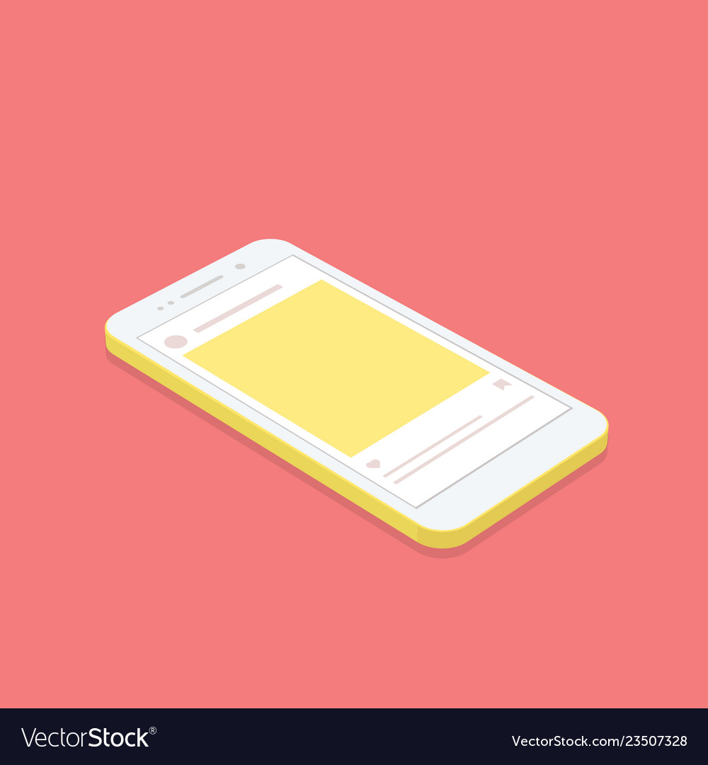 Isometric concept smartphone with social network