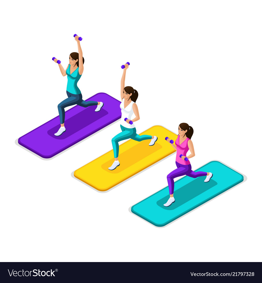 Isometry of the girl make a lunging with dumbbells