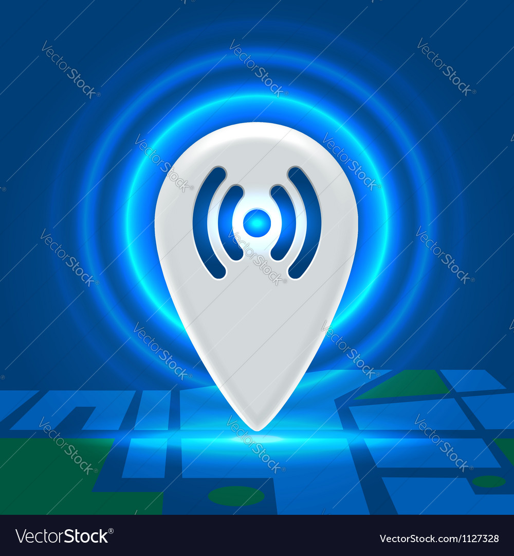 Wifi active spot over block map vector image