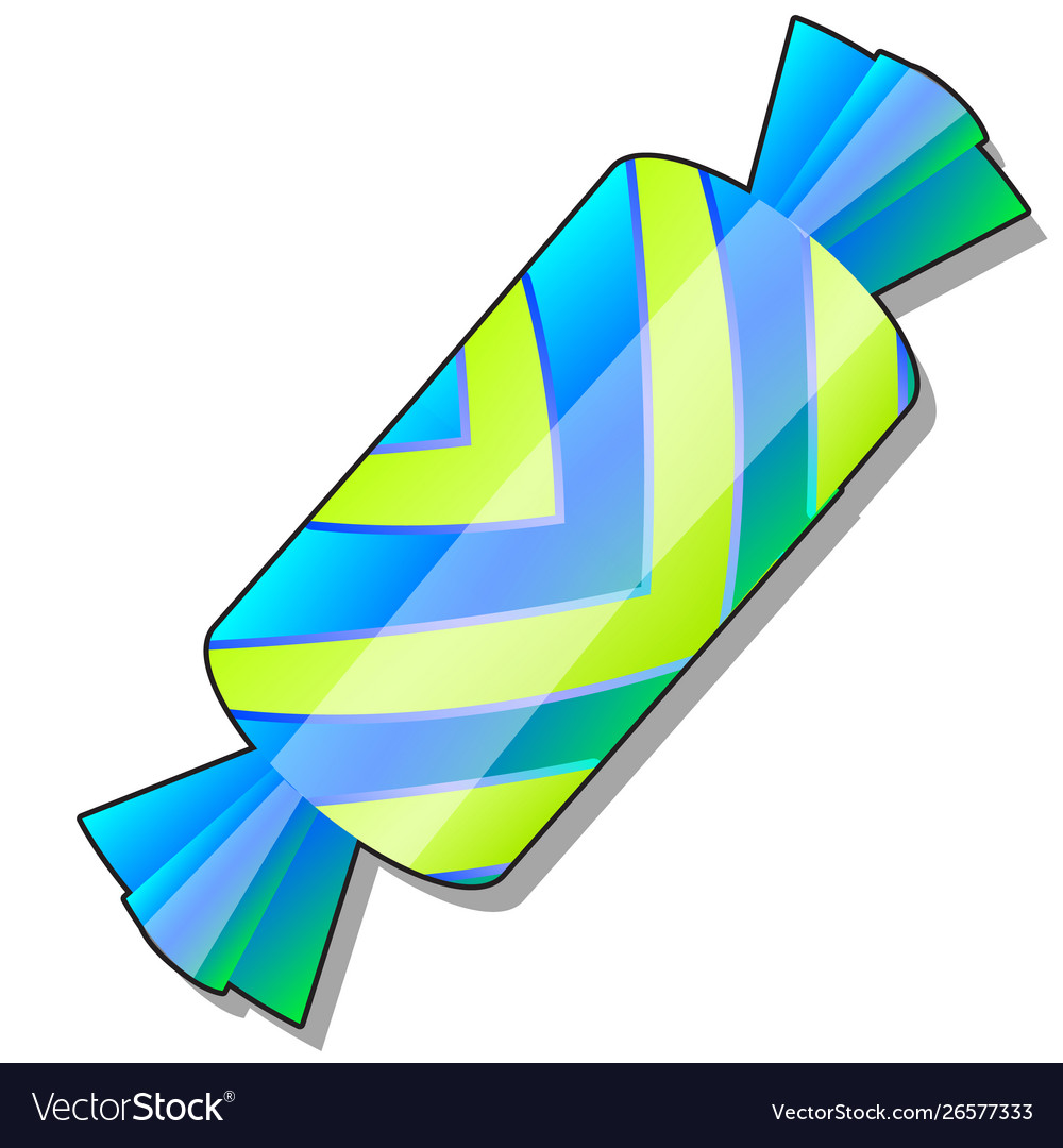 Candy in a striped yellow and blue wrapper