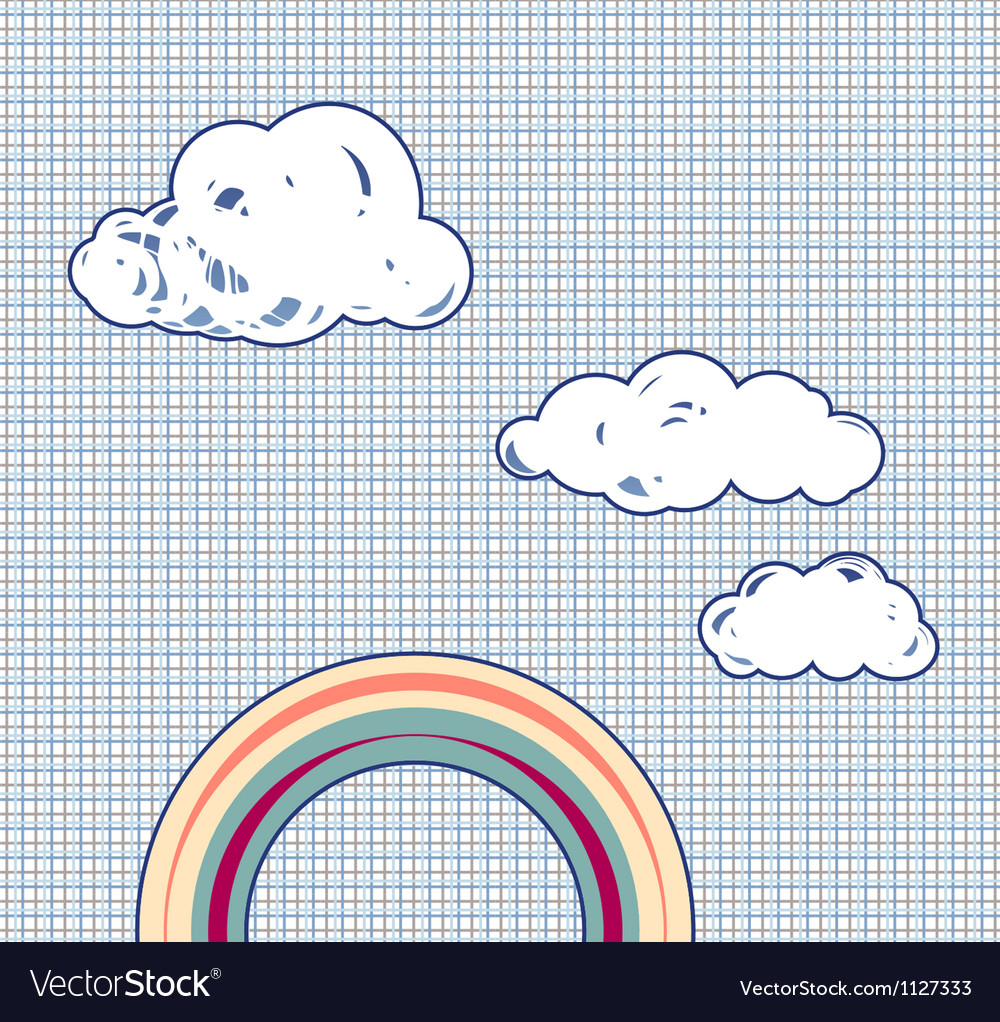 Cartoon clouds and rainbow in retro textured sky