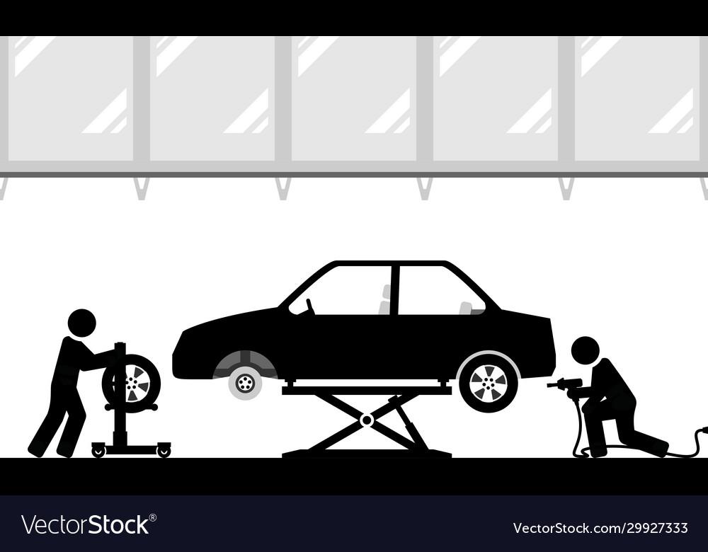 Changing tires in modern workshop