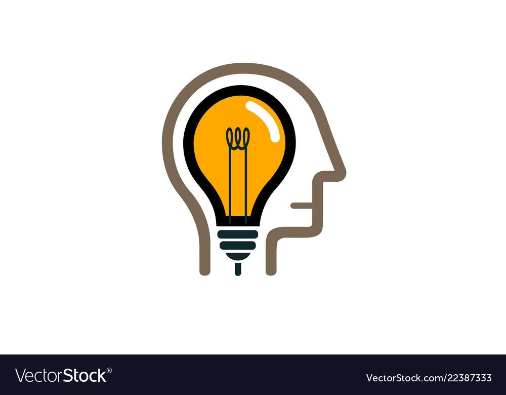 Creative human head lamp idea logo