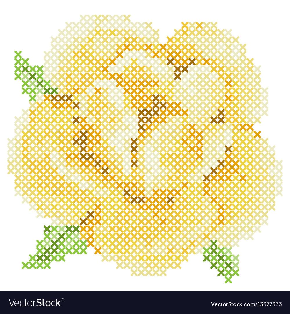 Cross stitch yellow rose