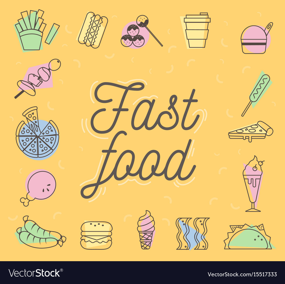 Fast food icons design set