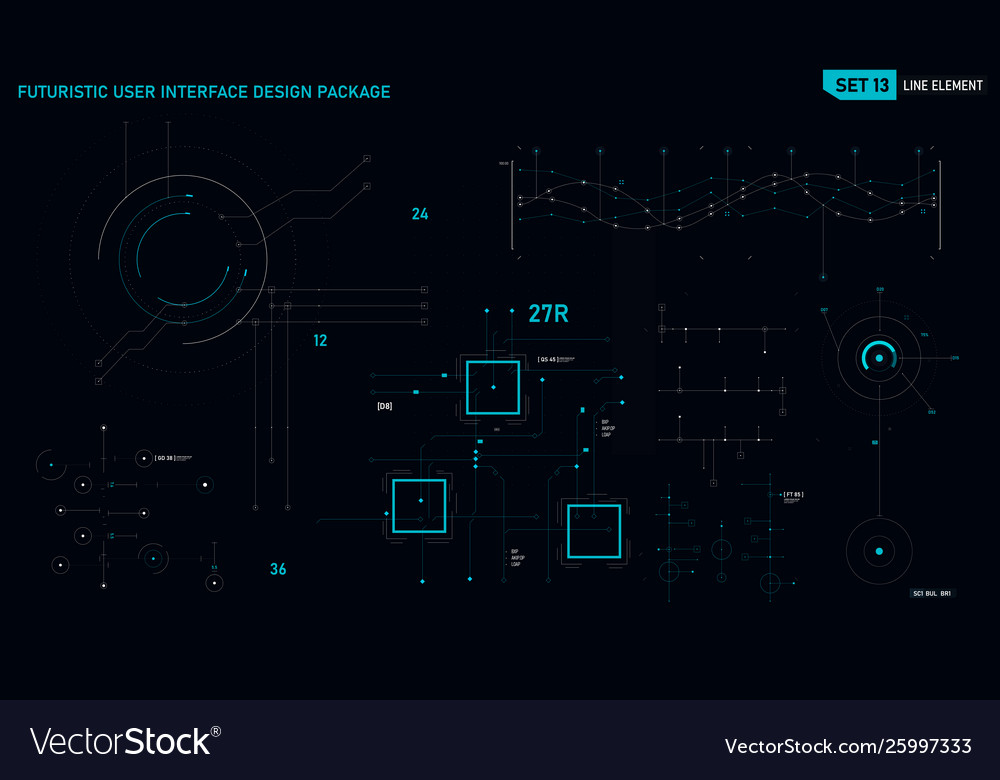 Futuristic user interface design element set 13