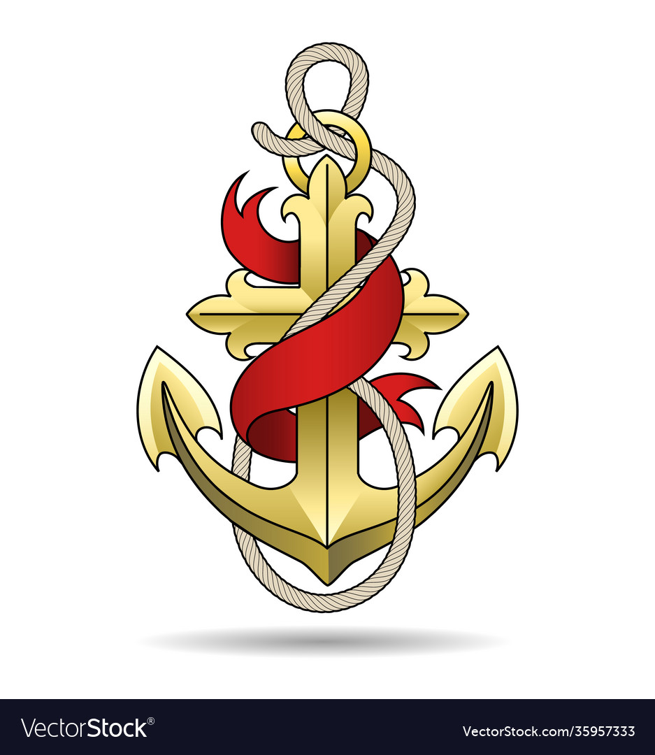 Golden anchor with ribbon colorful