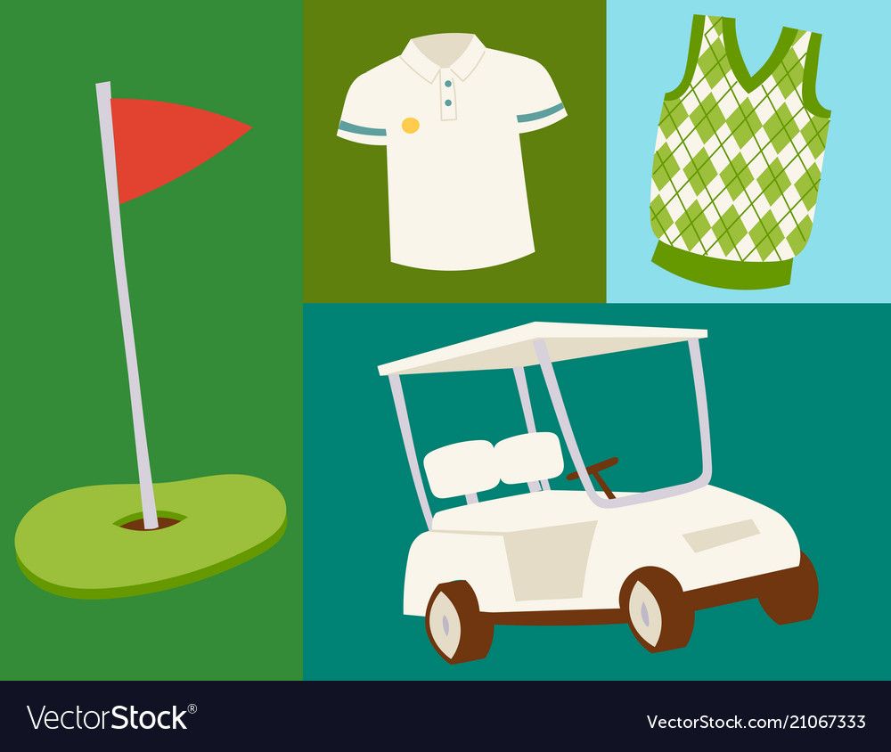Golf icons hobby car equipment cart player golfing
