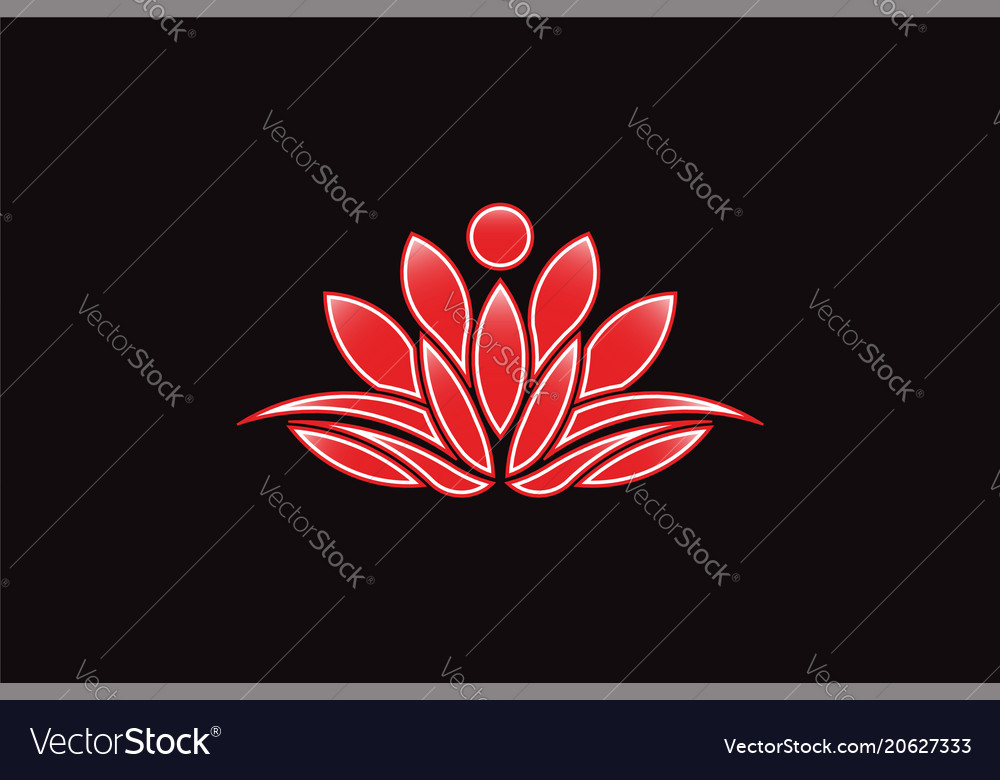 Red Lotus Flower Logo Icon Royalty Free Vector Image