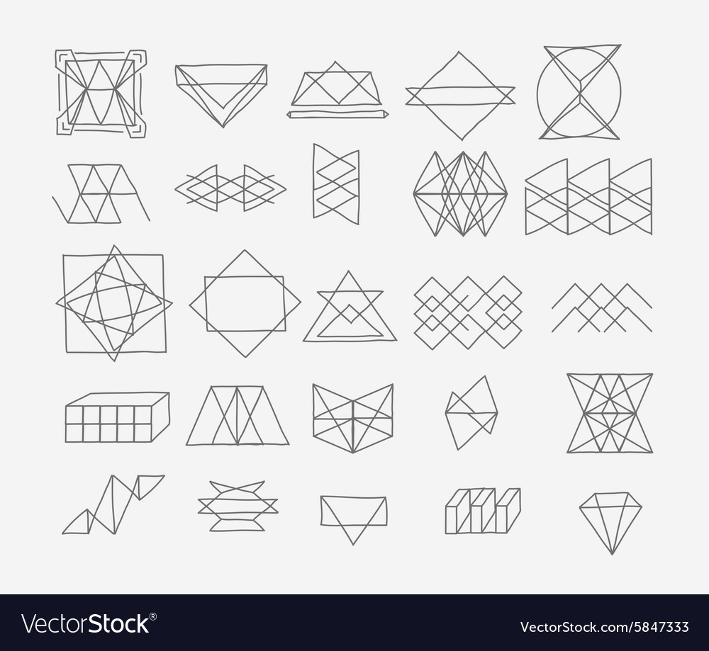 Set geometric trendy hipster elements shapes