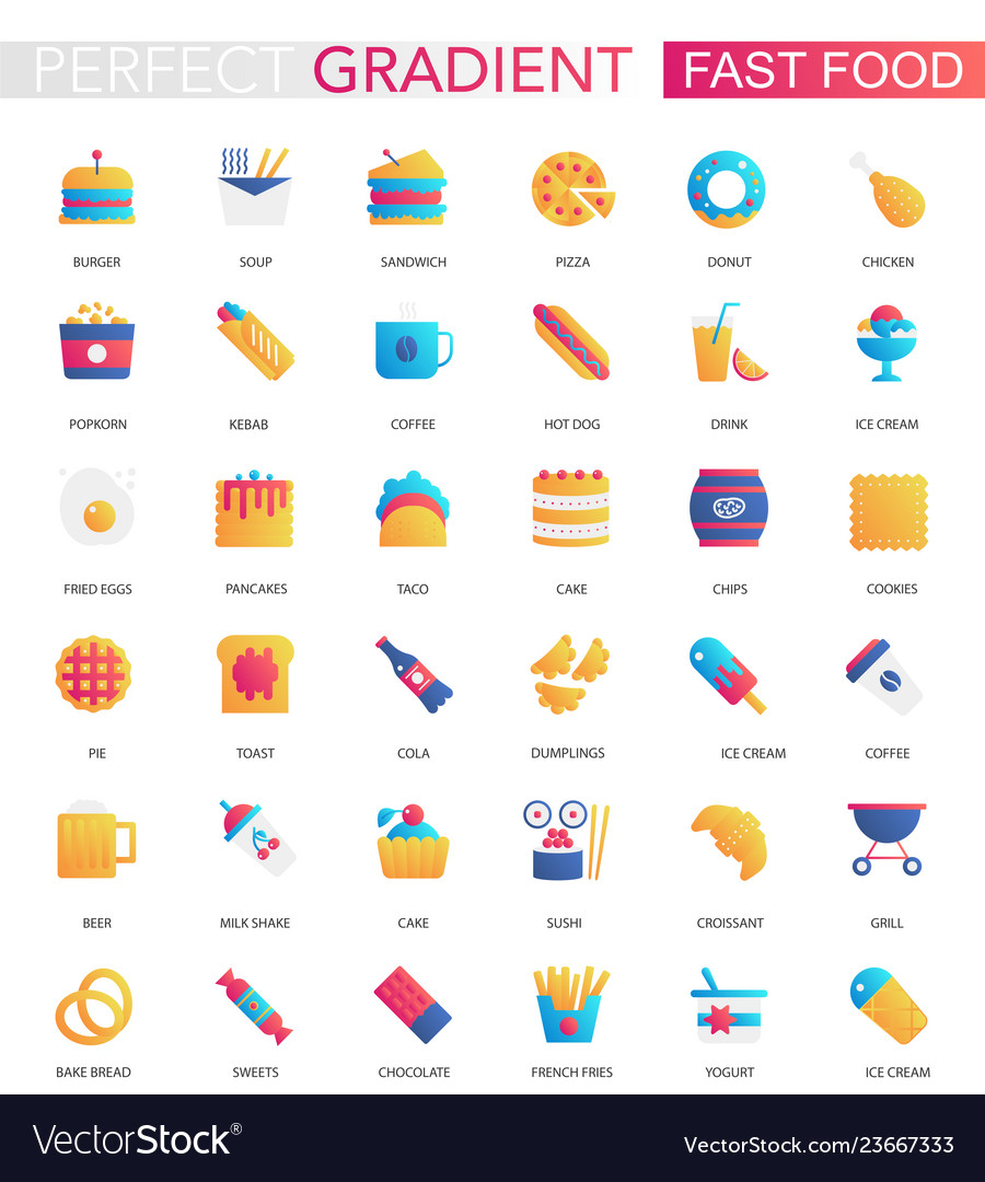 Set of trendy flat gradient fast food icons