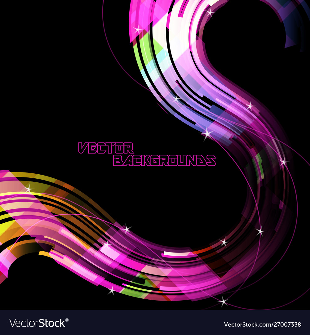 Abstract curved colors on a black scene