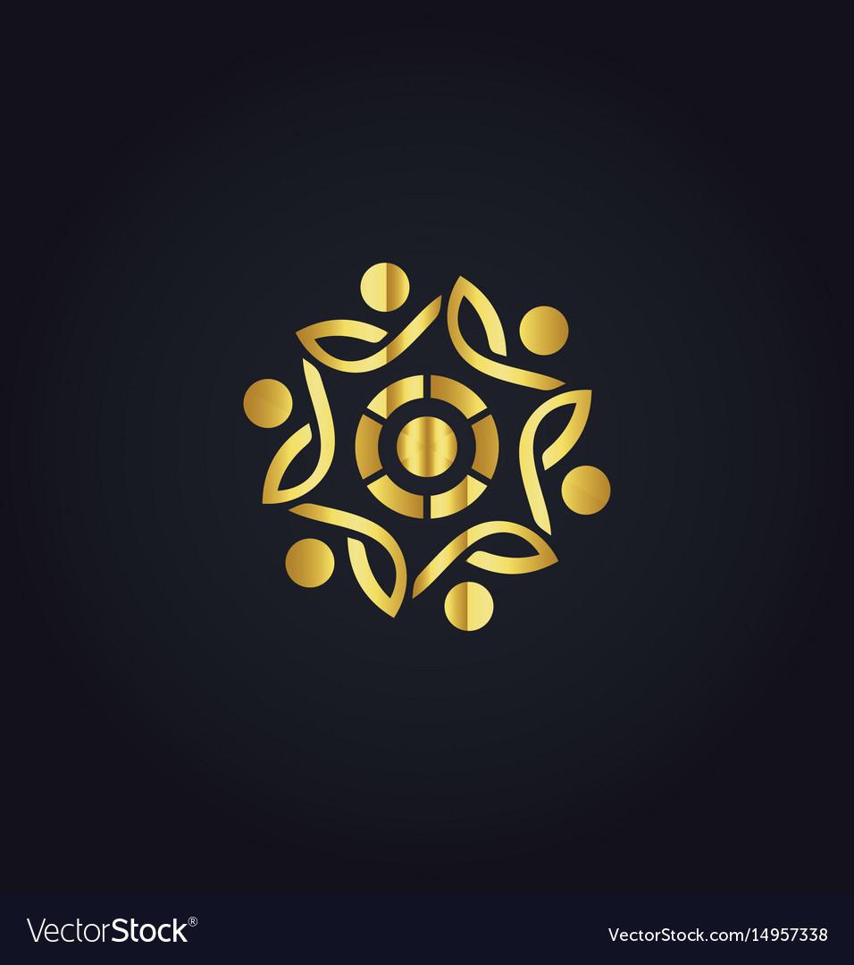 Circle people abstract gold logo