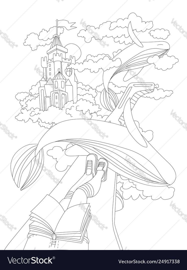 Cute hand draw coloring page with dreaming girl