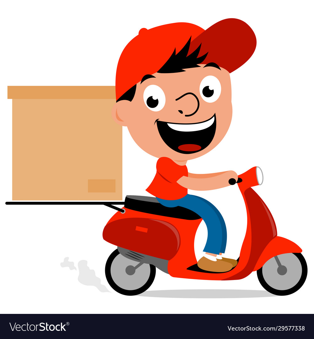 delivery man riding a scooter royalty free vector image vectorstock