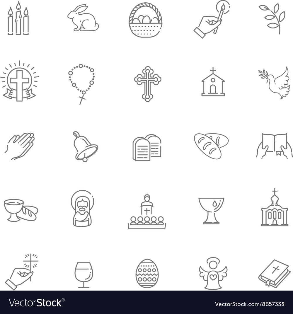 Easter icons set christianity icon set