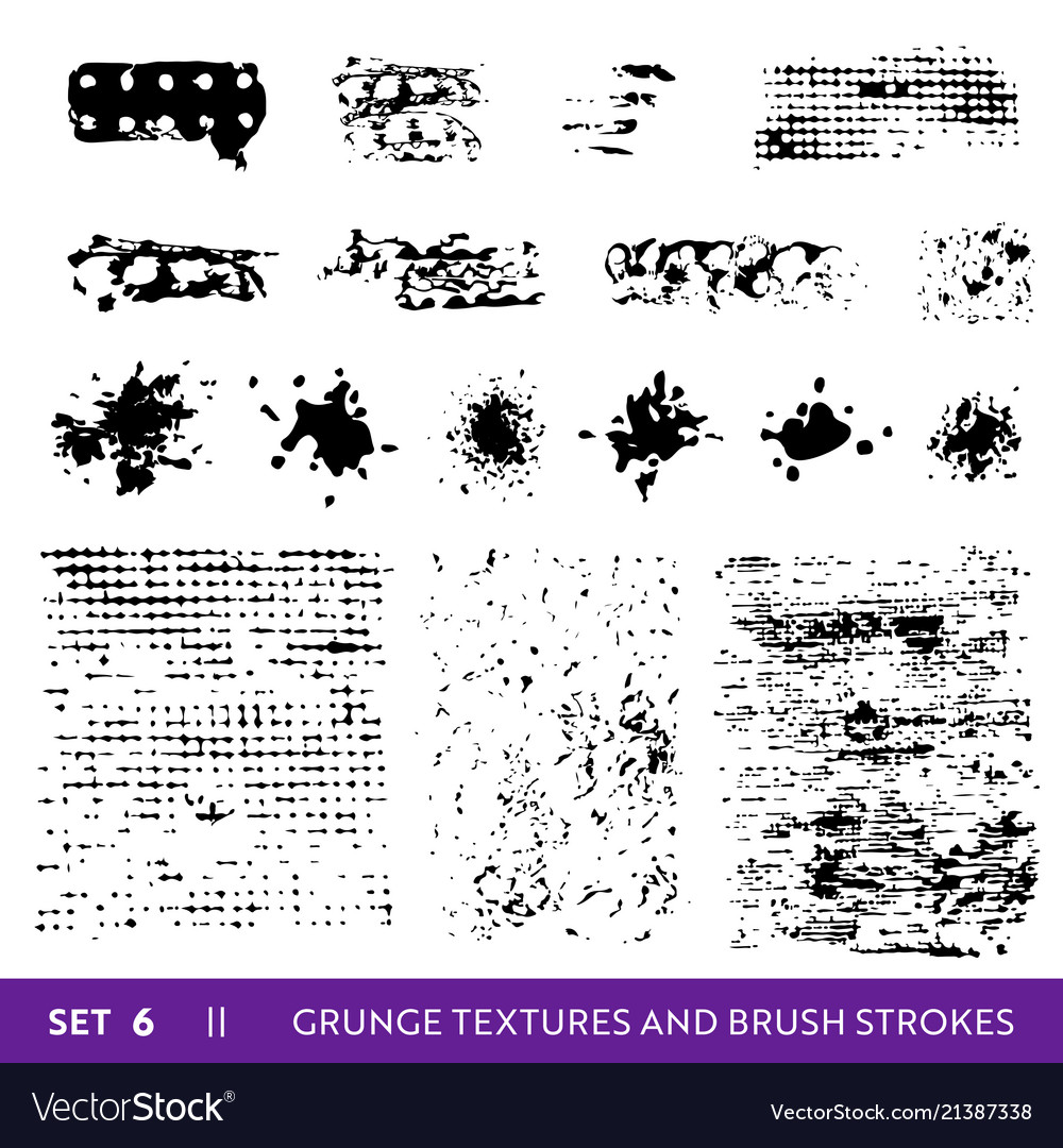 Ink brush strokes grunge collection dirty design