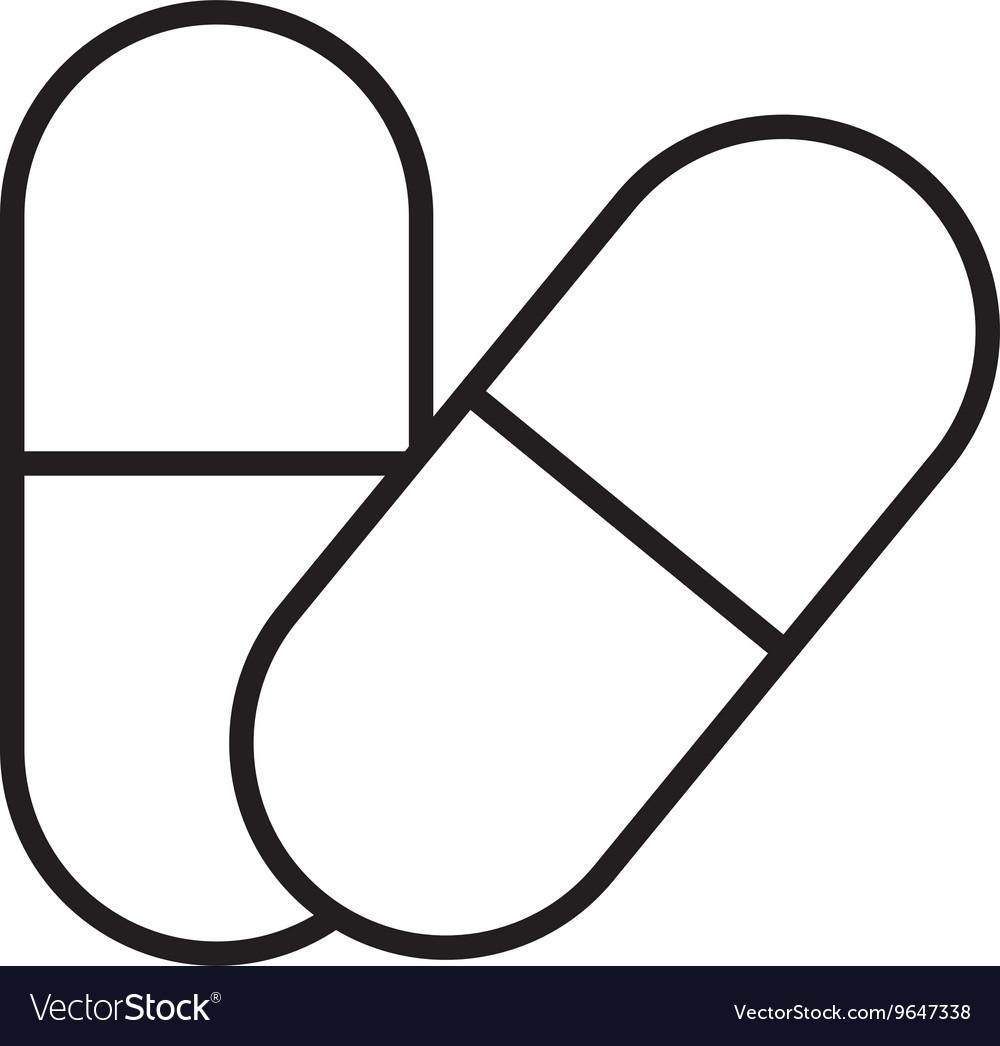 Isolated set of medicine pills graphic