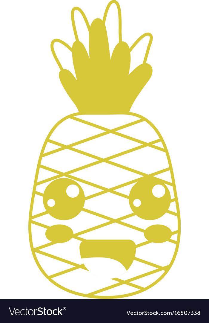 Kawaii Cute Happy Pineapple Fruit