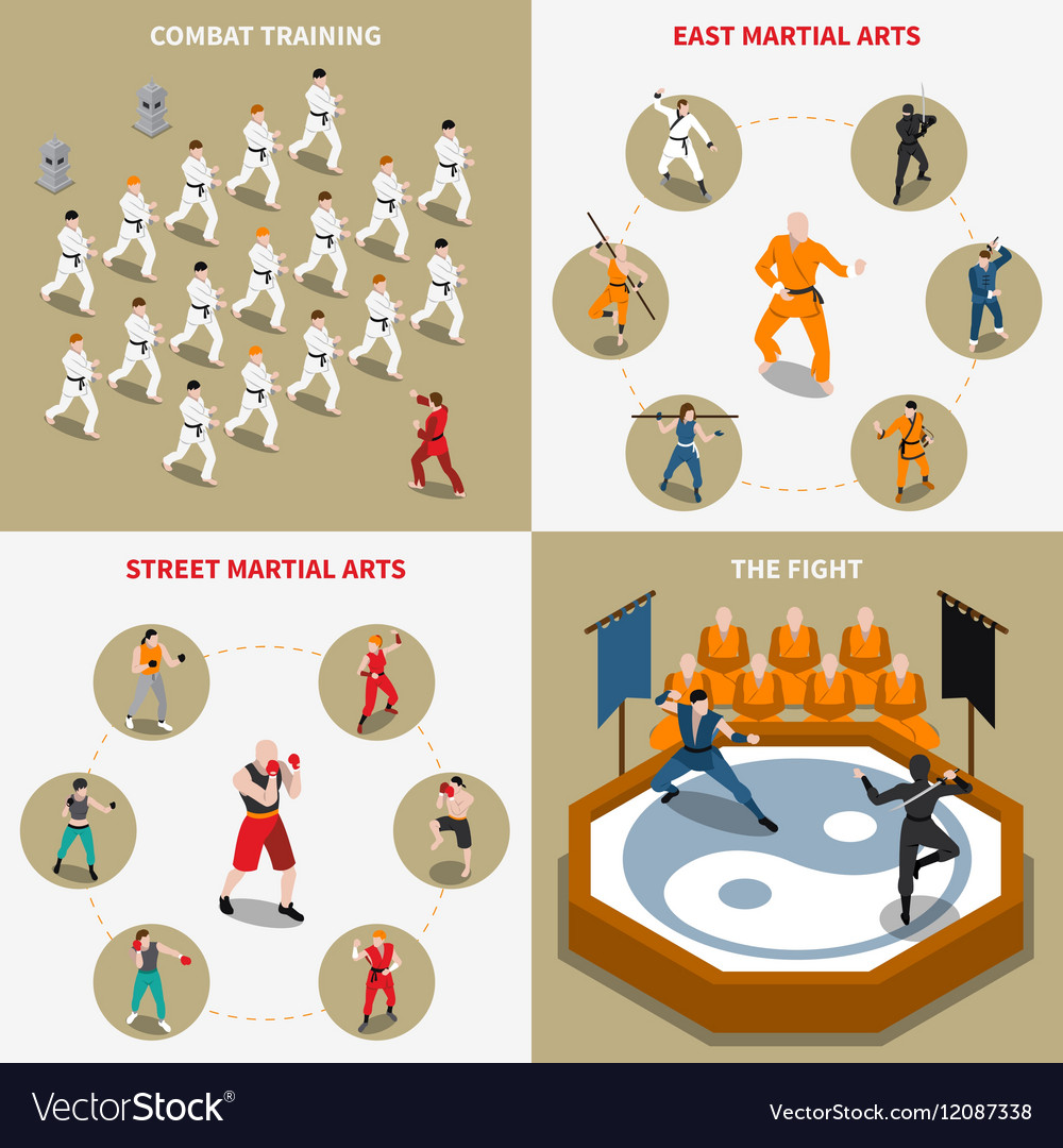 Martial Arts People Isometric 2x2 Icons Set