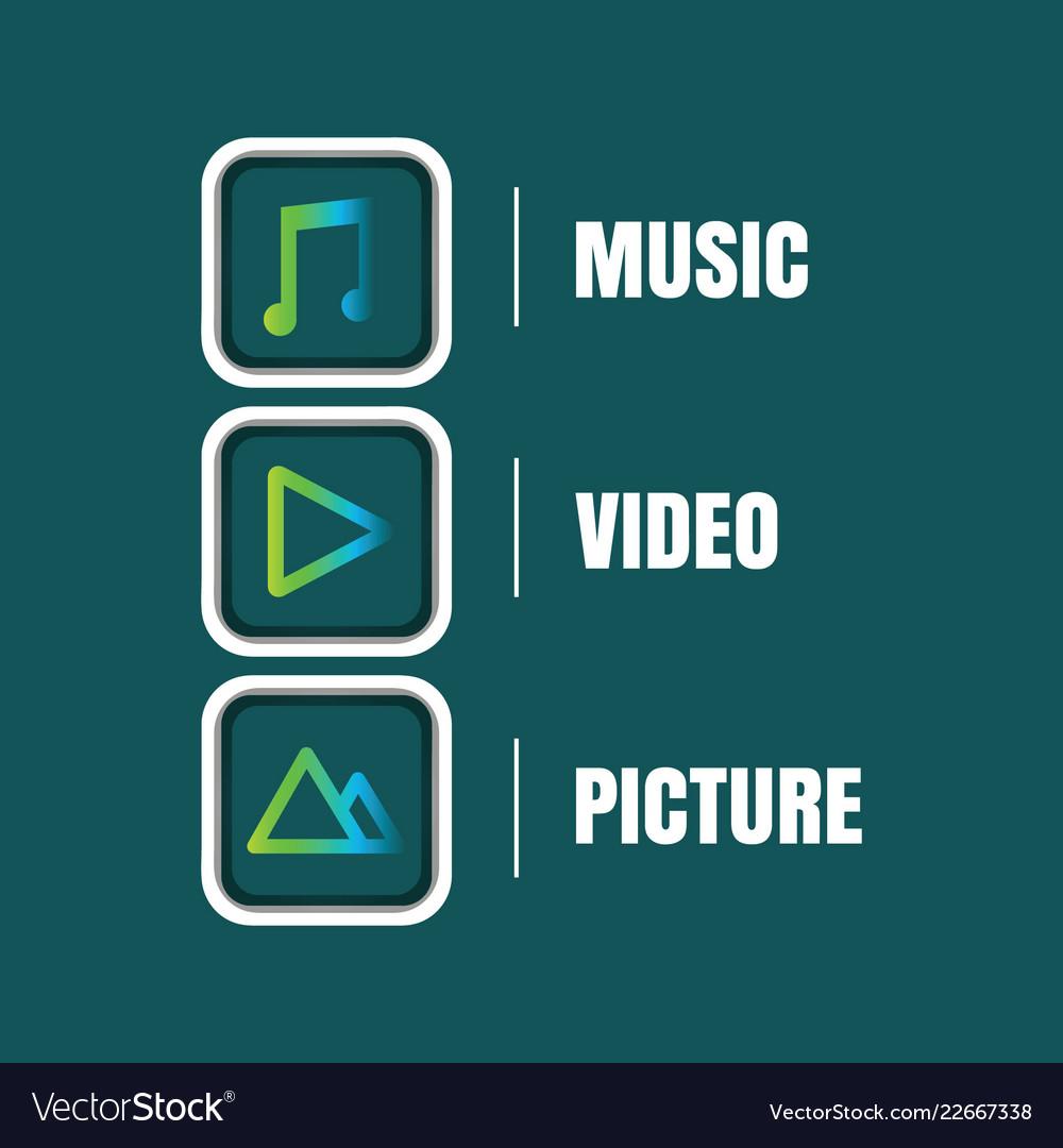 Multimedia icon sets
