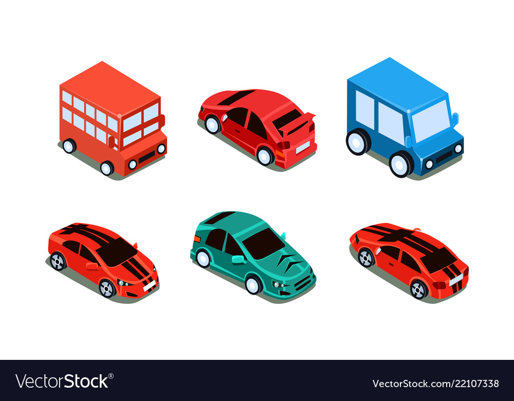 Set of different types of automobiles bus