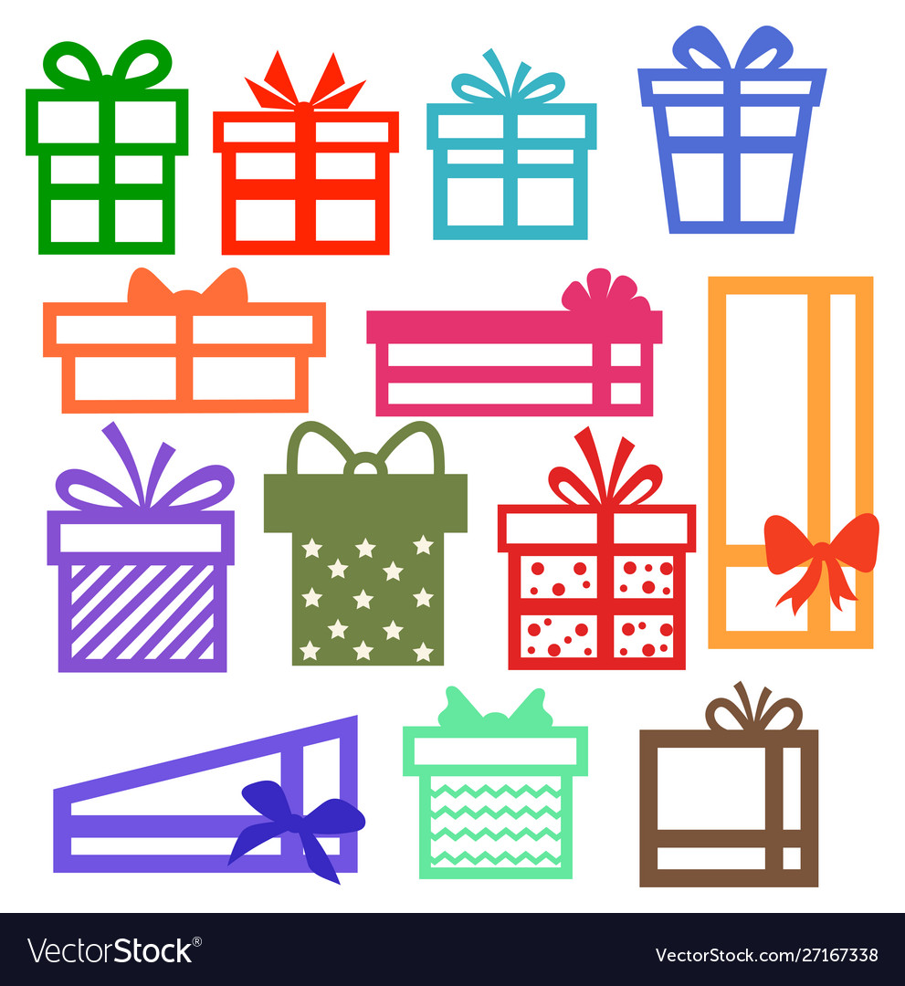 Set silhouette gift boxes collection for