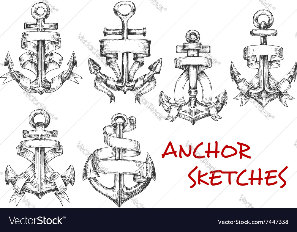 Sketches of old heraldic anchors with ribbons