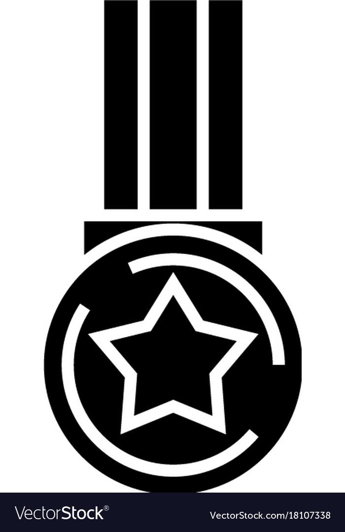 Star medal icon black sign