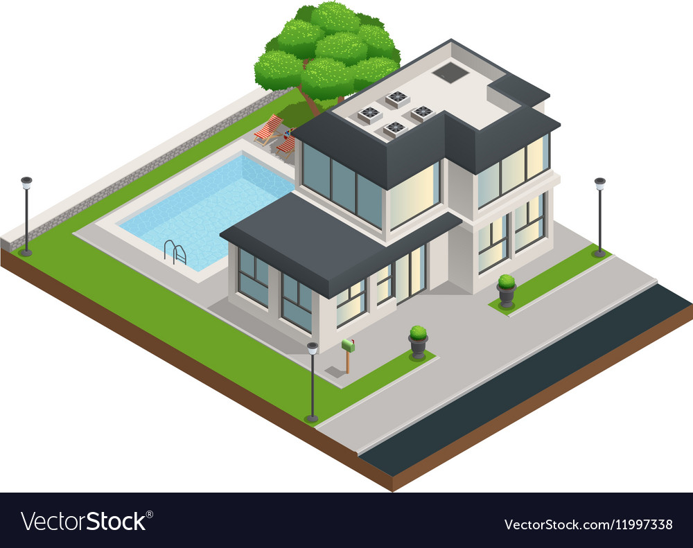suburban house isometric composition royalty free vector