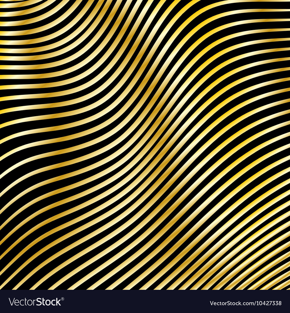 Wavy strips of golden color on a dark background