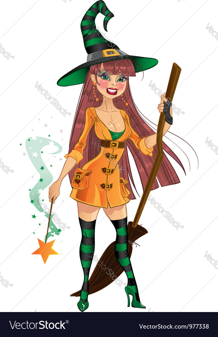 Young witch with cool magic wand and broom