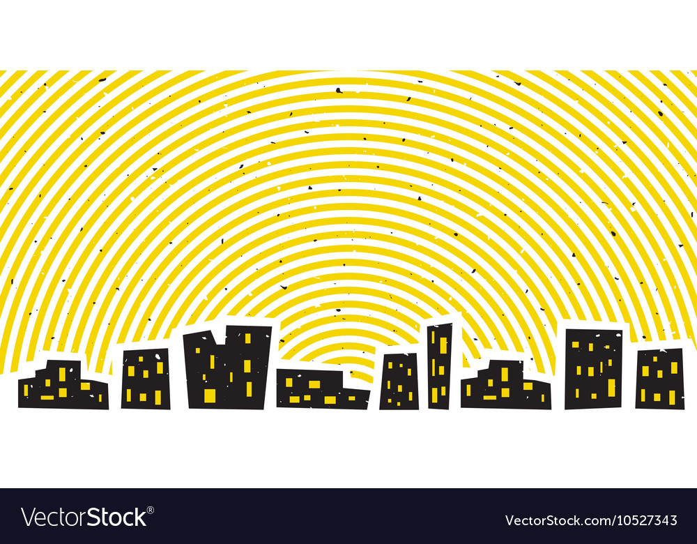 Abstract night cityscape with bright sky