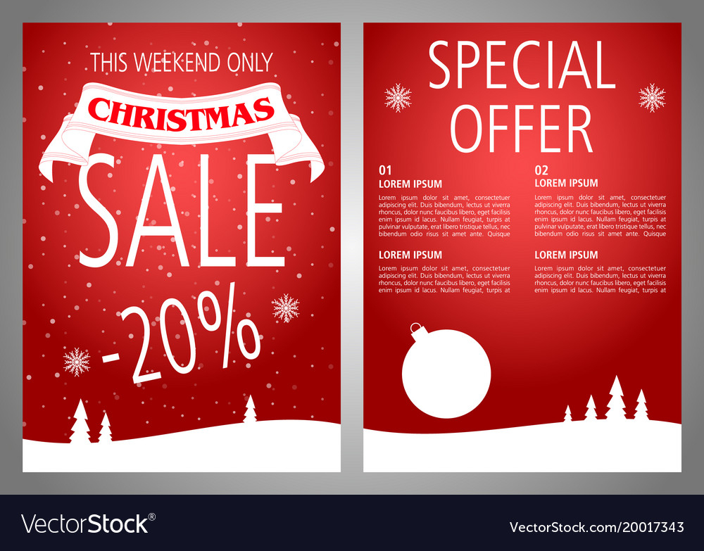 christmas sale flyer design in red color vector image