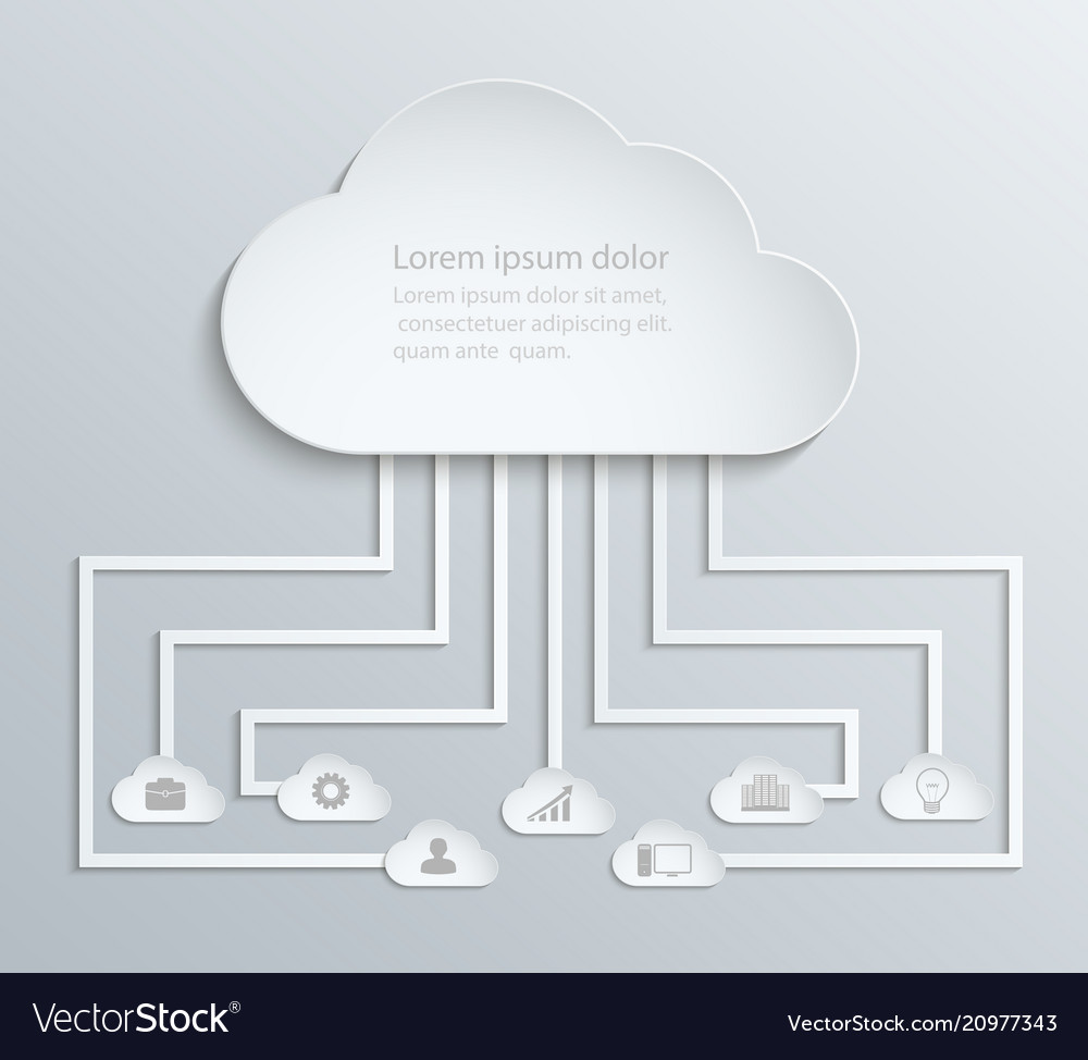 Cloud network with icons paper economic