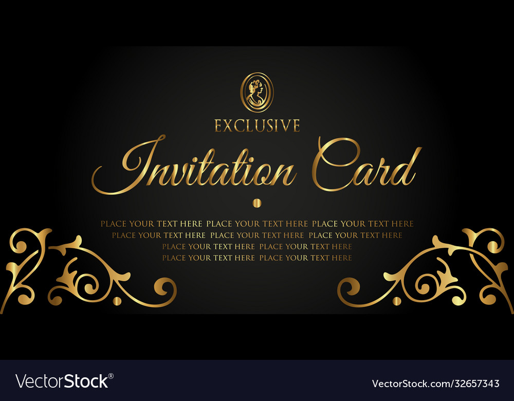 Exclusive vintage golden invitation card template