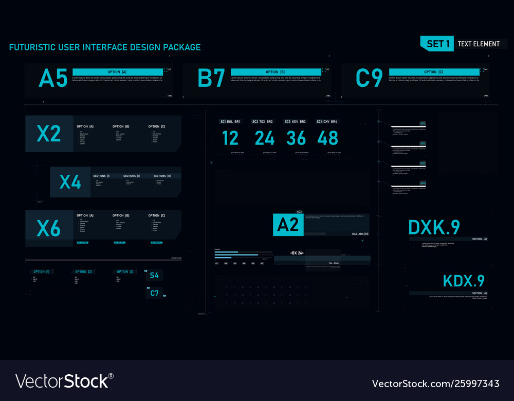 Futuristic user interface design element set 01