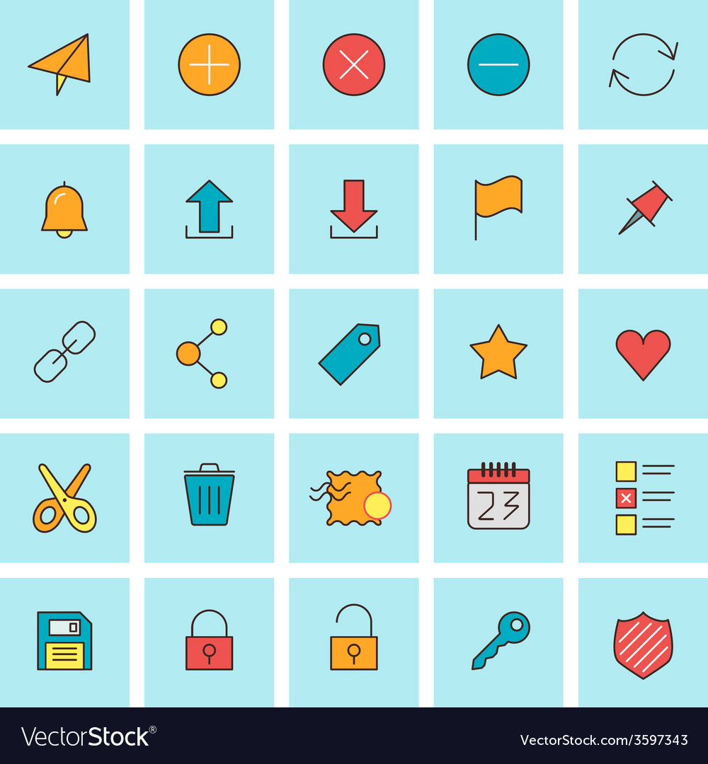 Mail and user interface icons icon set in flat