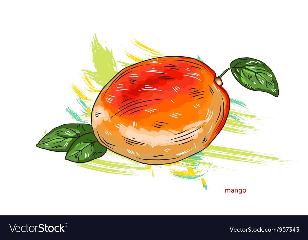 Mango with colorful splashes